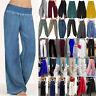 Plus Size Women High Waist Wide Leg Pants Ladies Casual Palazzo Loose Trousers