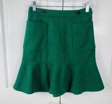 Maeve Anthropologie Skirt Emerald Green Wool blend Pockets Womens Size 0 Flounce
