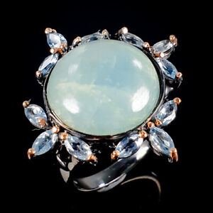 Handmade Natural Aquamarine 925 Sterling Silver Ring Size 8.5/R115216