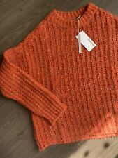 New Bartolini Orange Chunky Knit Jumper Size L Alpaka Wool Cotton