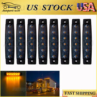 "8x Smoked Lens 3.8"" LED Marker Light for Trailer Truck Lorry Amber Side Lights"