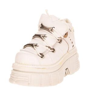 RRP €210 NEW ROCK Leather Ankle Boots Size 39 UK 6 US 9 Metal Logo Platform