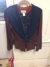 Dave & Johnny , Vintage , Beaded , Brown , Green Jacket , Size 6