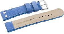 Uhrenarmbänder  Dornschließe-Echt Büffel- königsblau mit weißer 20mm 18mm