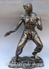 "17"" China Bronze People Man Famous Kung Fu idol Actor Bruce-Lee Bruce li Statue"