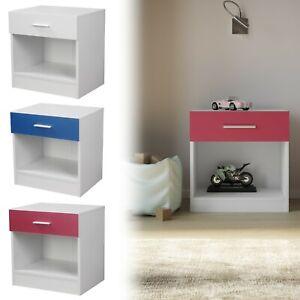 Orlando 1 Drawer Wooden Kids Bedroom Bedside Cabinet Nightstand Side Table Shelf