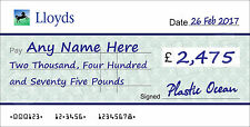 LARGE Personalised LLOYDS BANK Cheque for Charity / Presentation / Fundraising