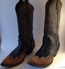 LAREDO Black & Brown Leather Heart Wings Western Cowboy Boots Size 7.5 Med Heel