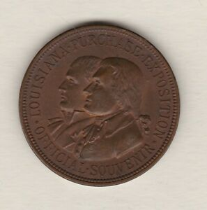 1904 USA LOUISIANA PURCHASE ST LOUIS EXPOSITION BRONZE MEDAL NEAR MINT CONDITION