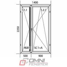 Tür Terassentür PVC DREH-KIPP 2-flg 1400mm x 2250mm EXTRA ANGEBOT!!!