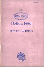 Wolseley 15/60 & 16/60 original Handbook 1962 Pub. No. AKD 1017E