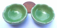 1:12 Scale 2 Green Bowls Dolls House Miniature Ceramic Fruit Food Accessory G19