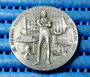 Sir Thomas Stamford Raffles Founder of Singapore 1819 Medallion Selangor Pewter