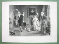 YOUNG LADY & Cavalier Kiss under Mistletoe - 120 Years Old Print Engraving