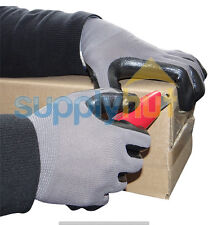 12 Nitrile Dipped Grey Nylon Disposable Work Industrial Gloves Size - Large