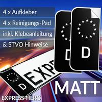 4x Kennzeichen Aufkleber Schwarz Nummernschild EU Feld Blau D Sticker Set - MATT