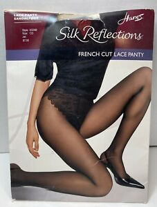 Hanes Silk Reflections Size CD Jet  Black French Cut Lace Panty Sandalfoot