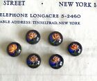 6 pcs Vintage Antique Early 1900 s Handpainted Floral Buttons Metal Backing