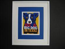"GEORGE RODRIGUE BLUE DOG PROMOCARD ""BE A BIG DOG IN TEXAS"" - WHITE FRAME"
