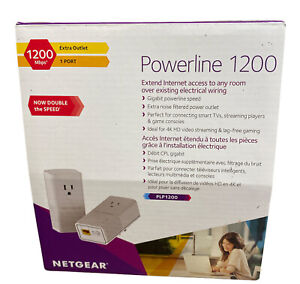 Netgear PLP1200-100PAS Powerline 1200 and Extra Outlet Set Of 2