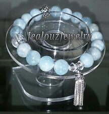 925 Sterling Silver Throat Chakra Beryl A Aquamarine Gemstone Yoga Mala Bracelet