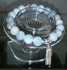 925 Sterling Silver Throat Chakra Beryl A Aquamarine Gemstone Yoga Mala Bracelet