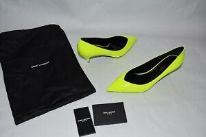 NIB $645 YSL Saint Laurent KiKi Pumps Neon Yellow sz 39.5 kitten heel Leather