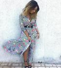 ZARA NEW LONG STRIPED AND FLORAL PRINT DRESS MAXI SHIRT BLOGGER LOVE SIZE XS-L