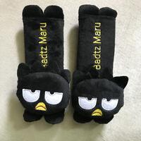 2pcs/set Cute Black Badtz Maru Seat Belt Cover Auto Car Plush Doll Shoulder Pads