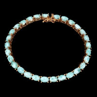 Unheated Oval Blue Larimar 6x4mm Natural 925 Sterling Silver Bracelet 7.5 Inches