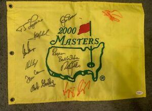 2000 Masters Flag - 10 Signatures - Jack Nicklaus, Nick Faldo ++ - JSA Certified