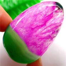 Gemstone Rose & Green Druzy Geode Agate Free Shape Pendant Bead 49x32x7mm #0637