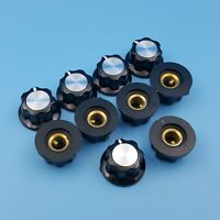 10Pcs Black 16mm Top Rotary Control Turning Potentiometer Knob For Hole Dia 6mm