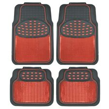 carXS Red/Black Metallic Design Rubber Floor Mats Car SUV 4pc Front & Rear