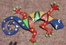 Hand Painted Hanging Metal Art Gecko, 12 inches wide