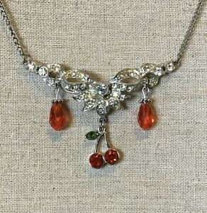 Cherry Necklace- Cherry Charm, Glass Beads, Up cycled Vintage Piece, Silver Tone