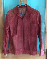 Vintage 1970s rust orange real pig suede coat jacket 12 14
