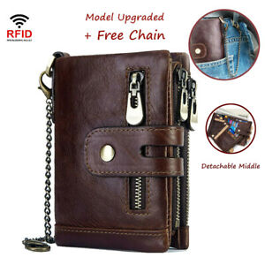 Men's RFID Blocking Wallet Genuine Leather Purse Card Slots Coins Holder Chain