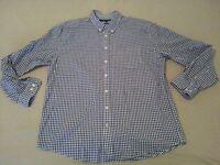 Mens Tommy Hilfiger Plaid Dress Shirt 2XL XXL Navy Blue Cotton