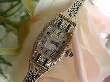 1924 Ladies Art Deco 14K Bulova Sapphire & Diamond Watch~Sapphire Filigree Band