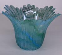 Genuine Italian Art Glass Bowl/candle Holder Blue Tammaro Made in Italy Murano