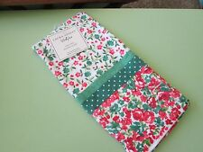 """Laura Ashley-Ainsley Floral Kitchen Towel-100% cotton-Green/White-16"""" x 26""""--New"""