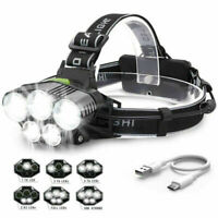 Super Bright 5x XML T6LED Headlamp Rechargeable Head Light Flashlight Torch Lamp