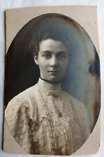 c1890 B/W Photograph. Oval Portrait of Lady in White Broderie Anglaise Blouse