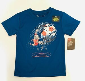 Under Armour T Shirt Toddler Boys 4 Blue Authentic Glow in the Dark Soccer Tee