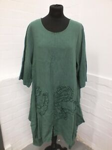 Made In Italy Green Linen Dress Lagenlook Size XL  (Hol)