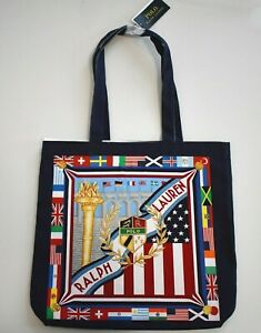 POLO RALPH LAUREN Multi-Colored CREST FLAG Printed CANVAS TOTE Book Bag