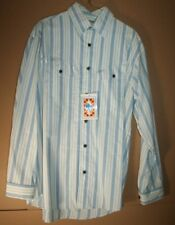 Rode Walker Western Mens L/S Shirt, Blue/White Stripe, Size L, NWT