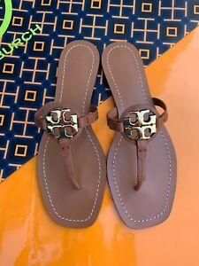 Tory Burch NIB MINI MILLER Leather Thong Flat Sandals Gold Logo Vintage Vachetta