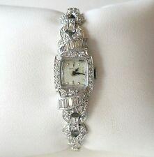 Vtg. Hamilton Ladies' Platinum Diamond Watch w/ 14K Diamond Bracelet Strap